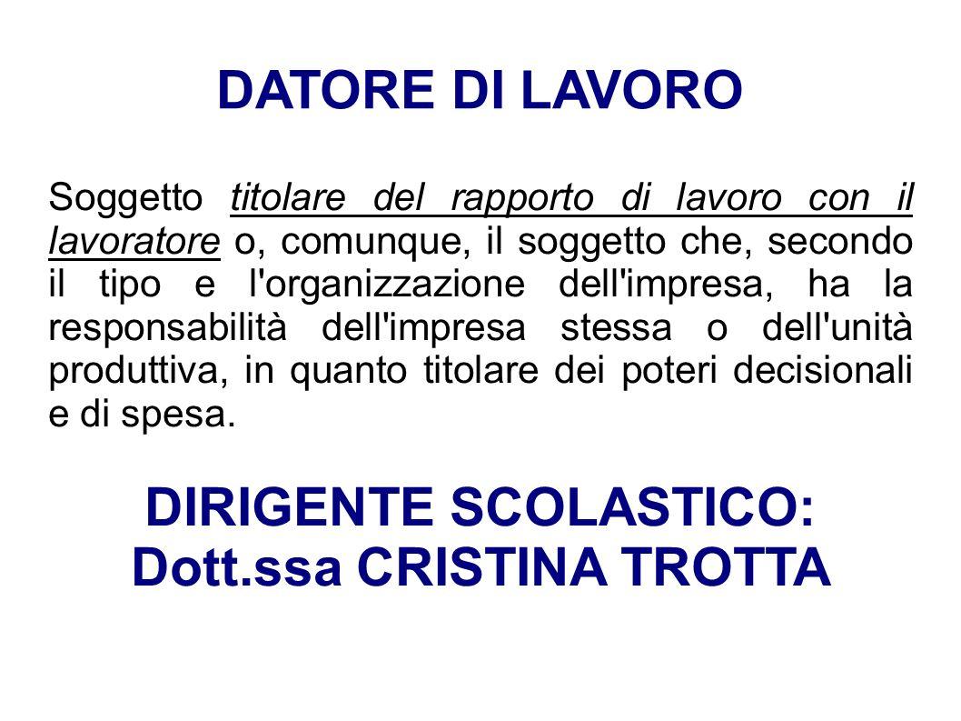 DIRIGENTE SCOLASTICO: Dott.ssa CRISTINA TROTTA