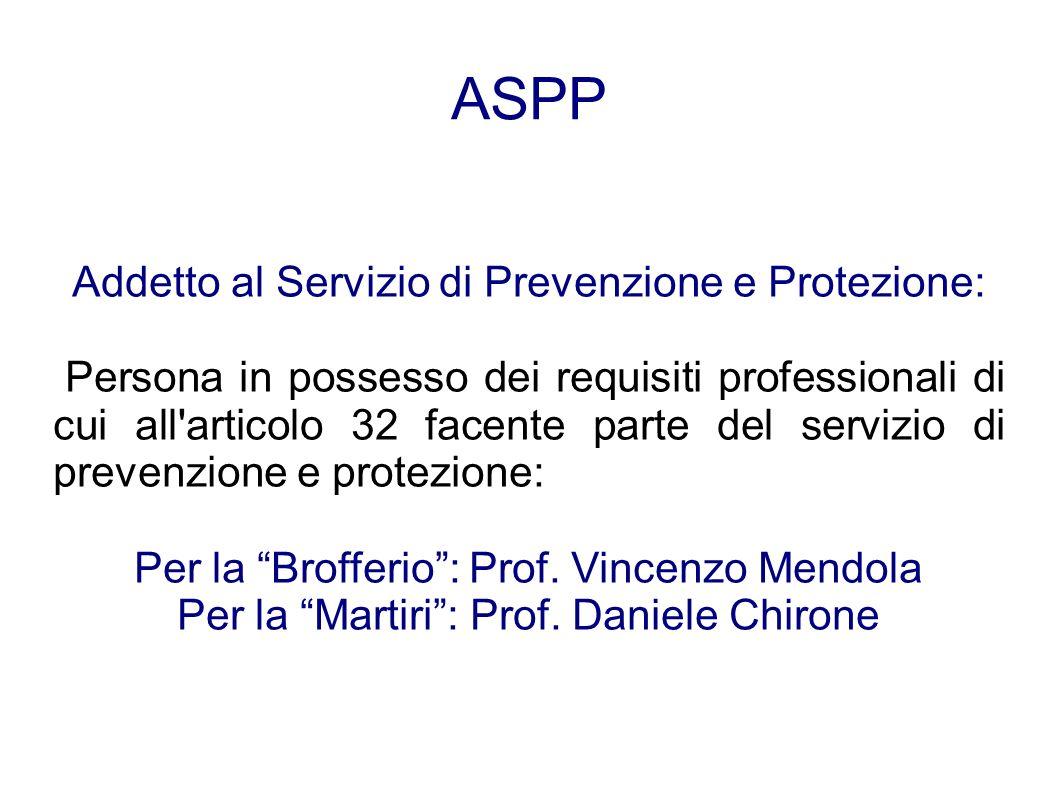 ASPP Addetto al Servizio di Prevenzione e Protezione: