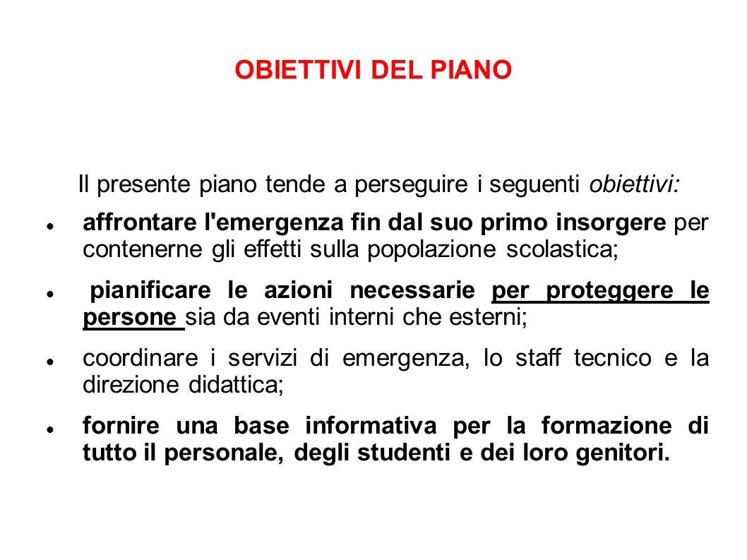 OBIETTIVI DEL PIANO Il presente piano tende a perseguire i seguenti obiettivi:
