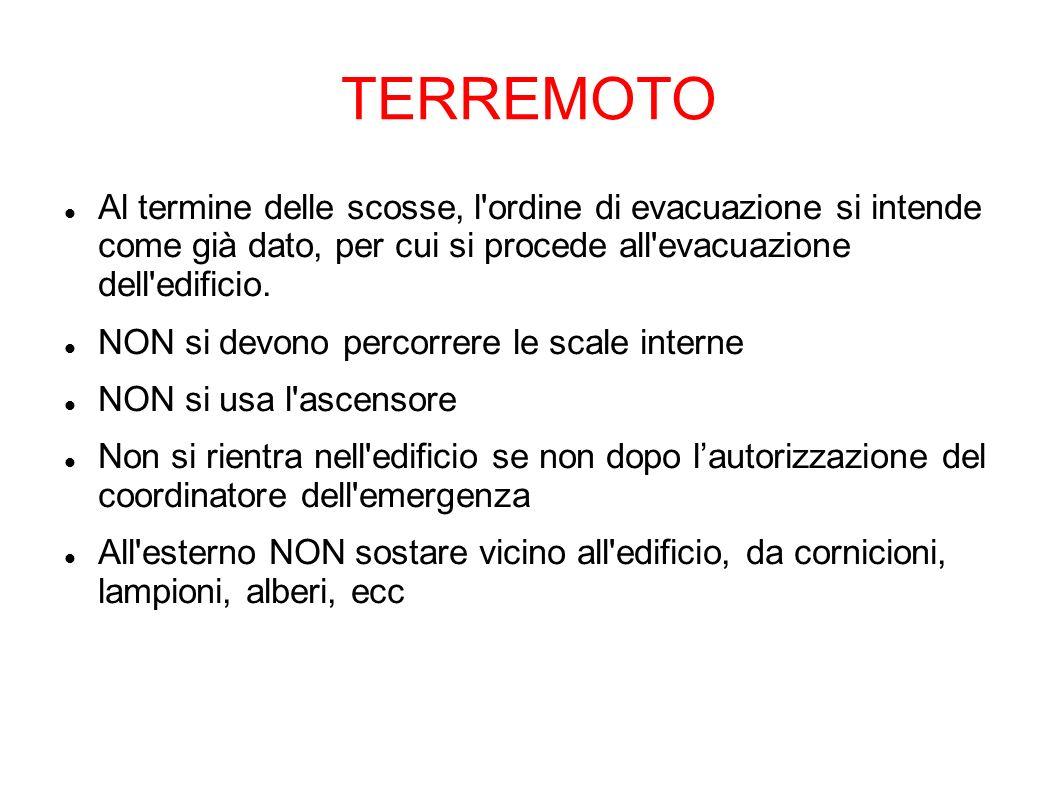 TERREMOTO Al termine delle scosse, l ordine di evacuazione si intende come già dato, per cui si procede all evacuazione dell edificio.