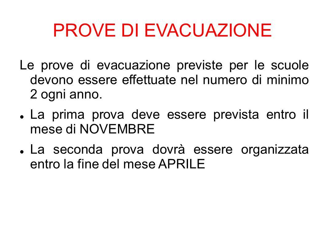 PROVE DI EVACUAZIONE Le prove di evacuazione previste per le scuole devono essere effettuate nel numero di minimo 2 ogni anno.
