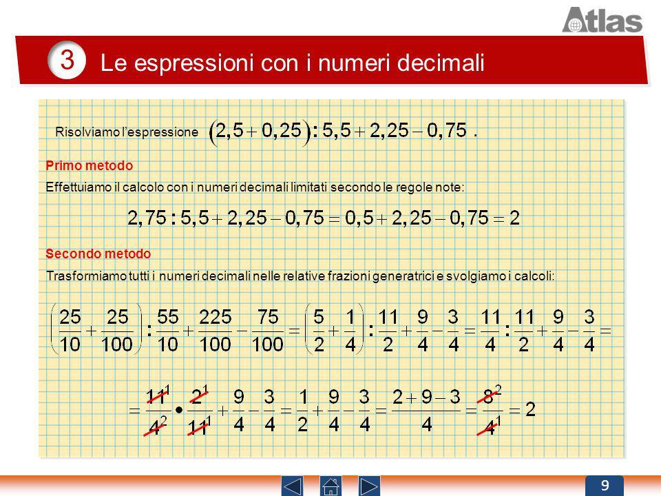 3 Le espressioni con i numeri decimali Risolviamo l'espressione .