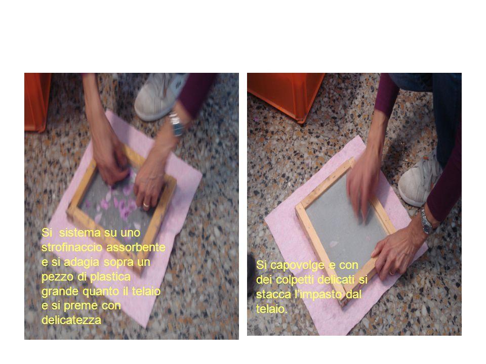 Si sistema su uno strofinaccio assorbente e si adagia sopra un pezzo di plastica grande quanto il telaio e si preme con delicatezza