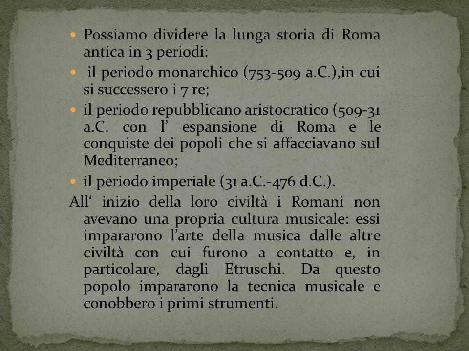 Possiamo dividere la lunga storia di Roma antica in 3 periodi: