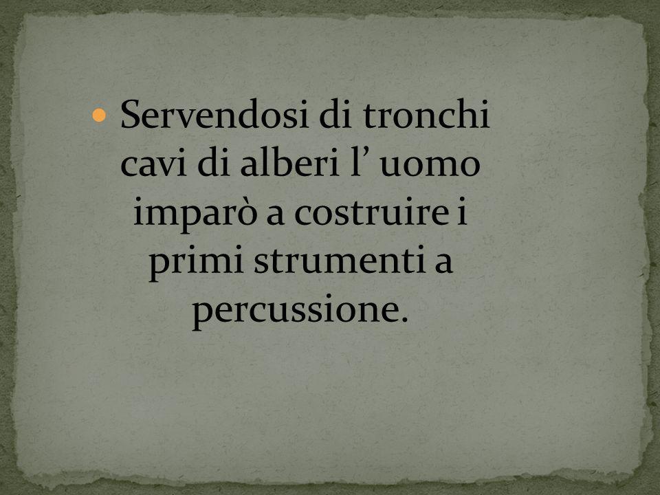 Servendosi di tronchi cavi di alberi l' uomo imparò a costruire i primi strumenti a percussione.