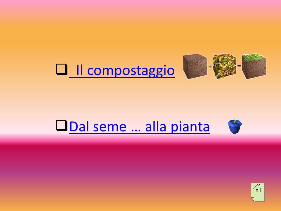 Il compostaggio Dal seme … alla pianta