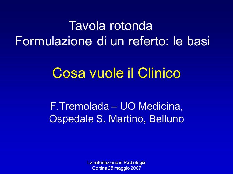 F.Tremolada – UO Medicina, Ospedale S. Martino, Belluno