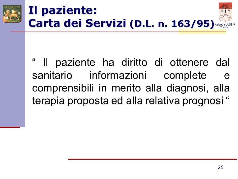 Il paziente: Carta dei Servizi (D.L. n. 163/95)