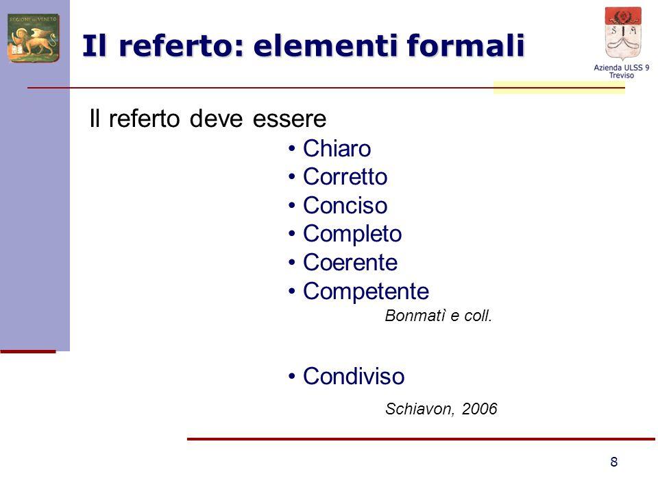 Il referto: elementi formali