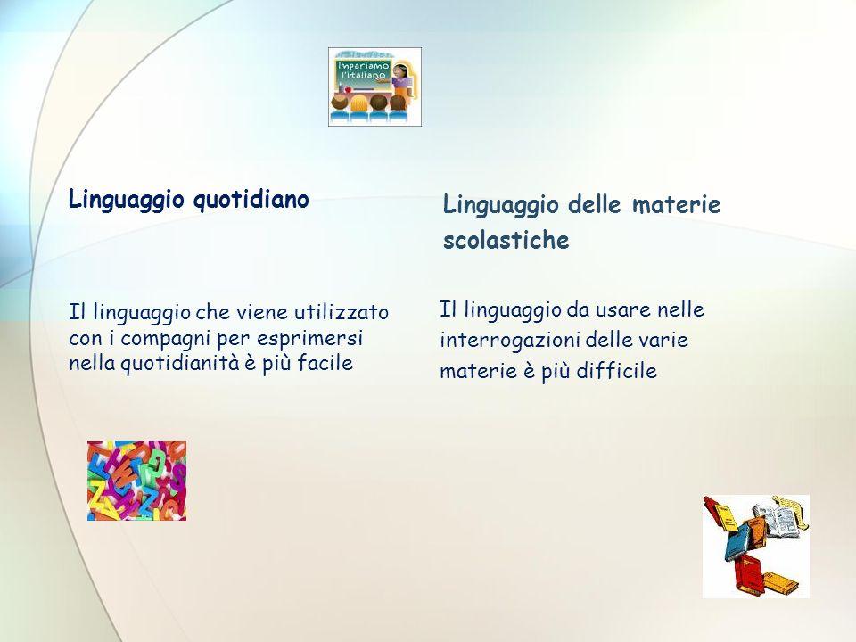 Linguaggio quotidiano Linguaggio delle materie scolastiche