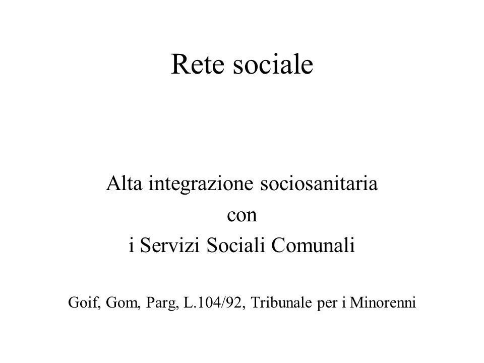 Rete sociale Alta integrazione sociosanitaria con