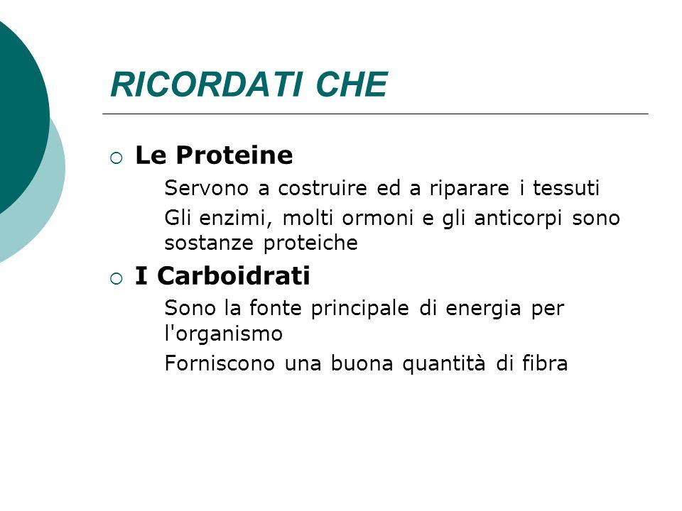 RICORDATI CHE Le Proteine I Carboidrati