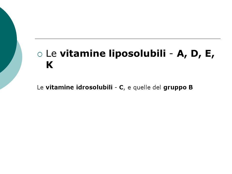 Le vitamine liposolubili - A, D, E, K