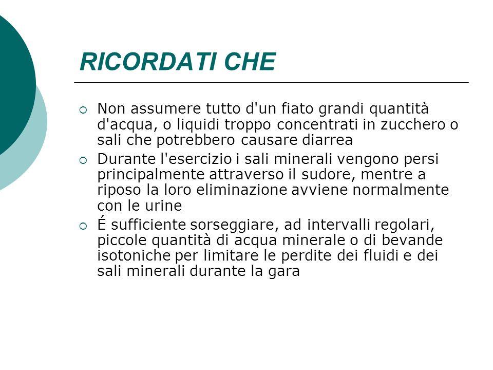 RICORDATI CHENon assumere tutto d un fiato grandi quantità d acqua, o liquidi troppo concentrati in zucchero o sali che potrebbero causare diarrea.