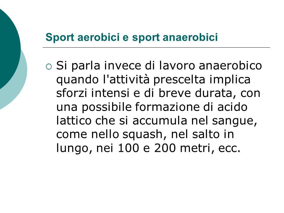 Sport aerobici e sport anaerobici