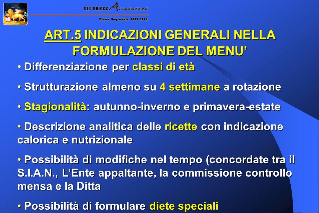 ART.5 INDICAZIONI GENERALI NELLA FORMULAZIONE DEL MENU'