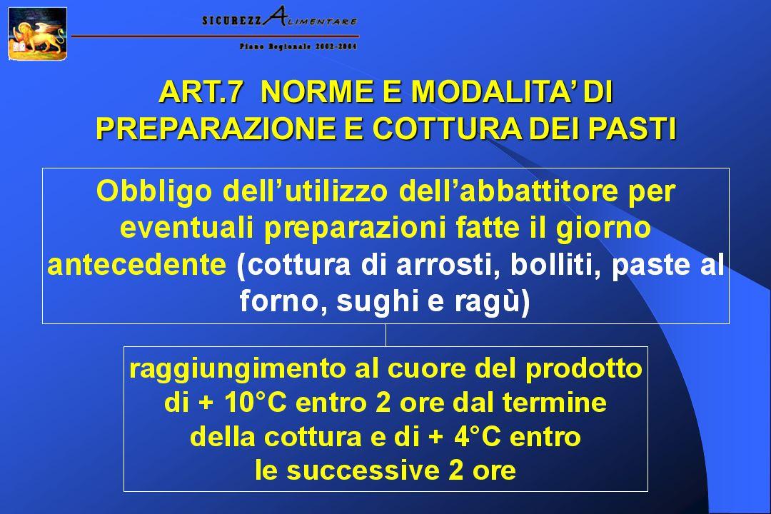 ART.7 NORME E MODALITA' DI PREPARAZIONE E COTTURA DEI PASTI