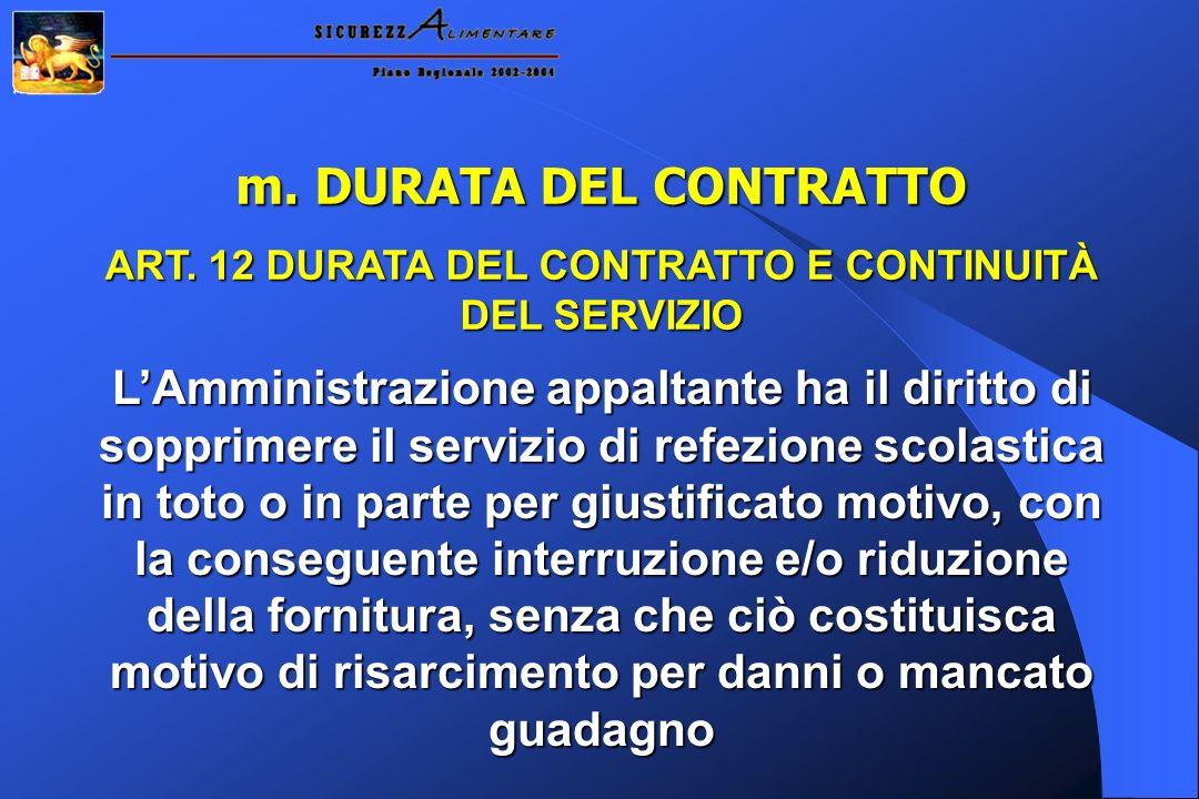 ART. 12 DURATA DEL CONTRATTO E CONTINUITÀ DEL SERVIZIO