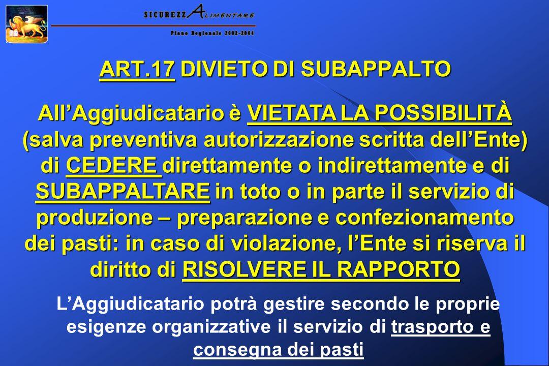 ART.17 DIVIETO DI SUBAPPALTO