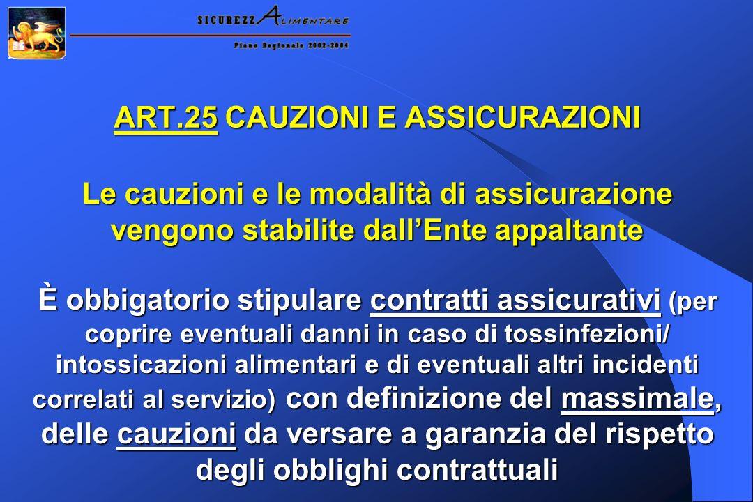 ART.25 CAUZIONI E ASSICURAZIONI