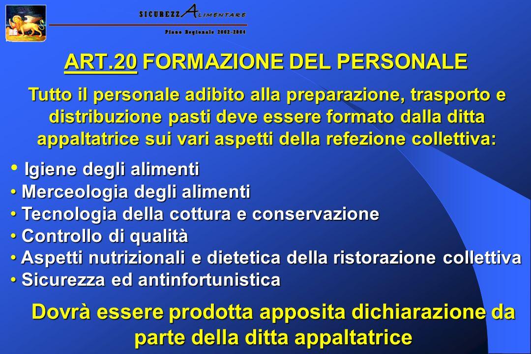 ART.20 FORMAZIONE DEL PERSONALE
