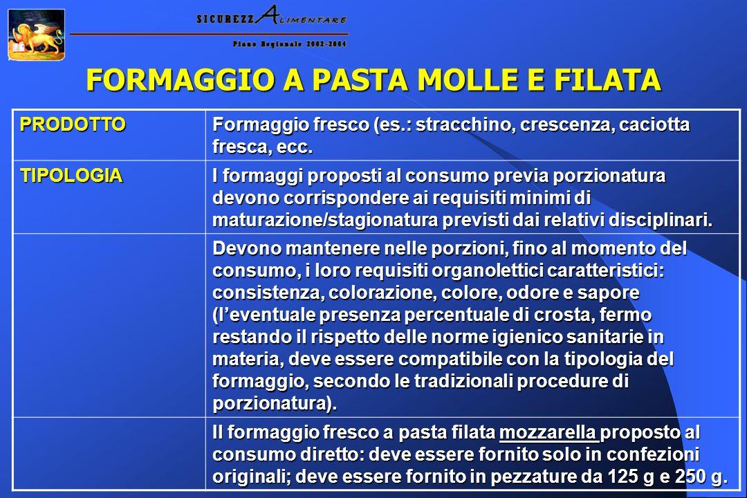 FORMAGGIO A PASTA MOLLE E FILATA