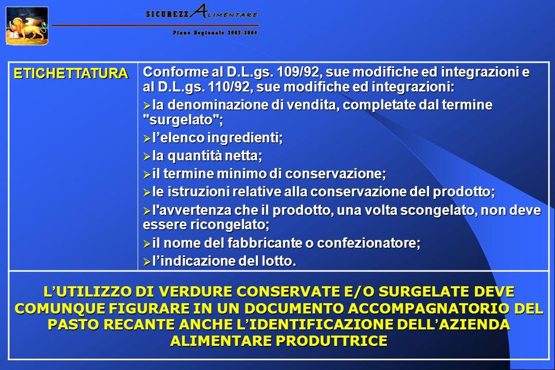 ETICHETTATURAConforme al D.L.gs. 109/92, sue modifiche ed integrazioni e al D.L.gs. 110/92, sue modifiche ed integrazioni: