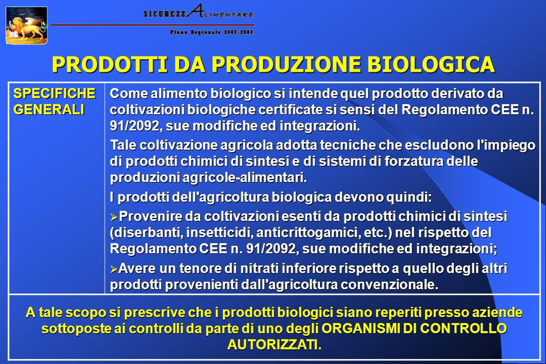 PRODOTTI DA PRODUZIONE BIOLOGICA