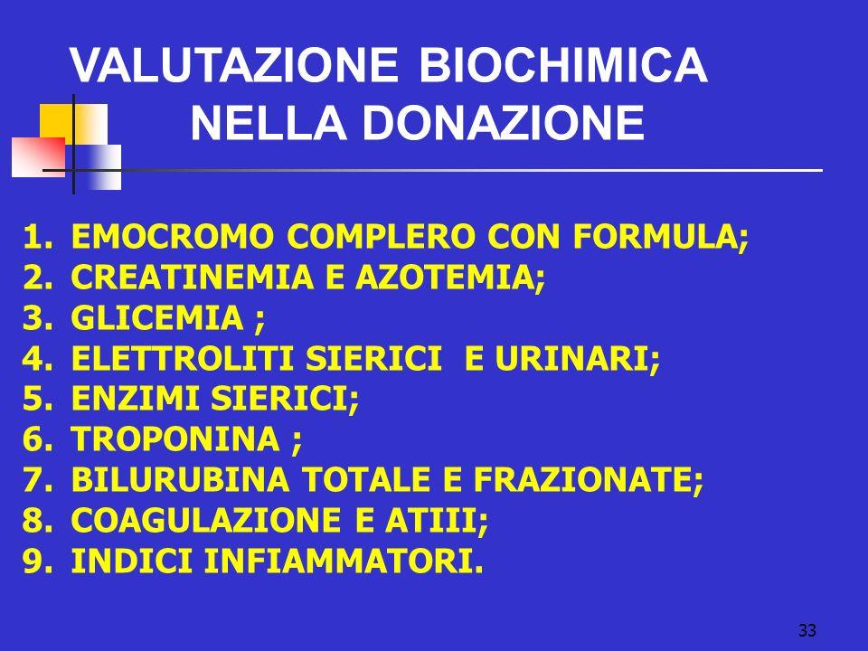 VALUTAZIONE BIOCHIMICA NELLA DONAZIONE