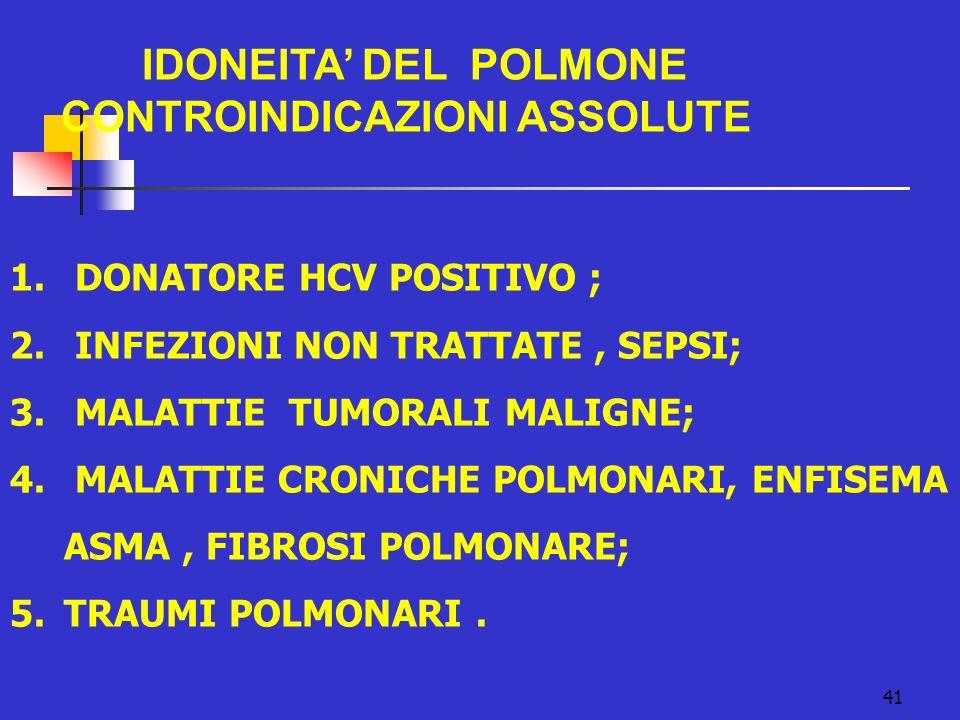 IDONEITA' DEL POLMONE CONTROINDICAZIONI ASSOLUTE