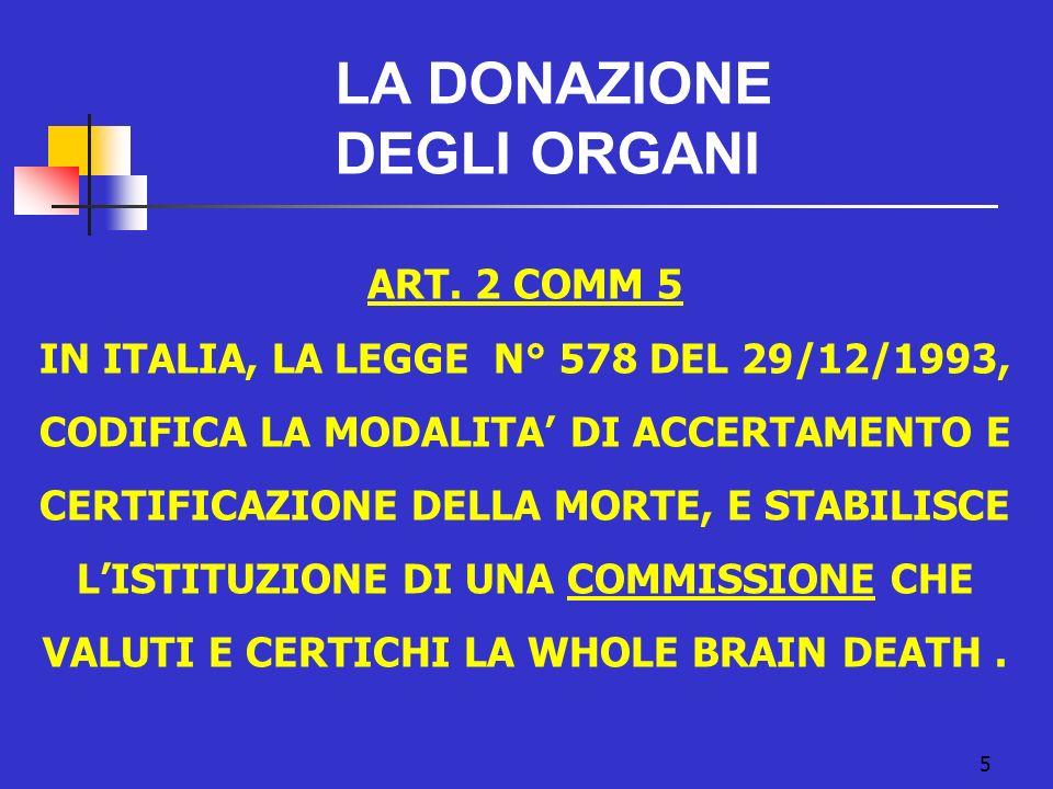 LA DONAZIONE DEGLI ORGANI ART. 2 COMM 5