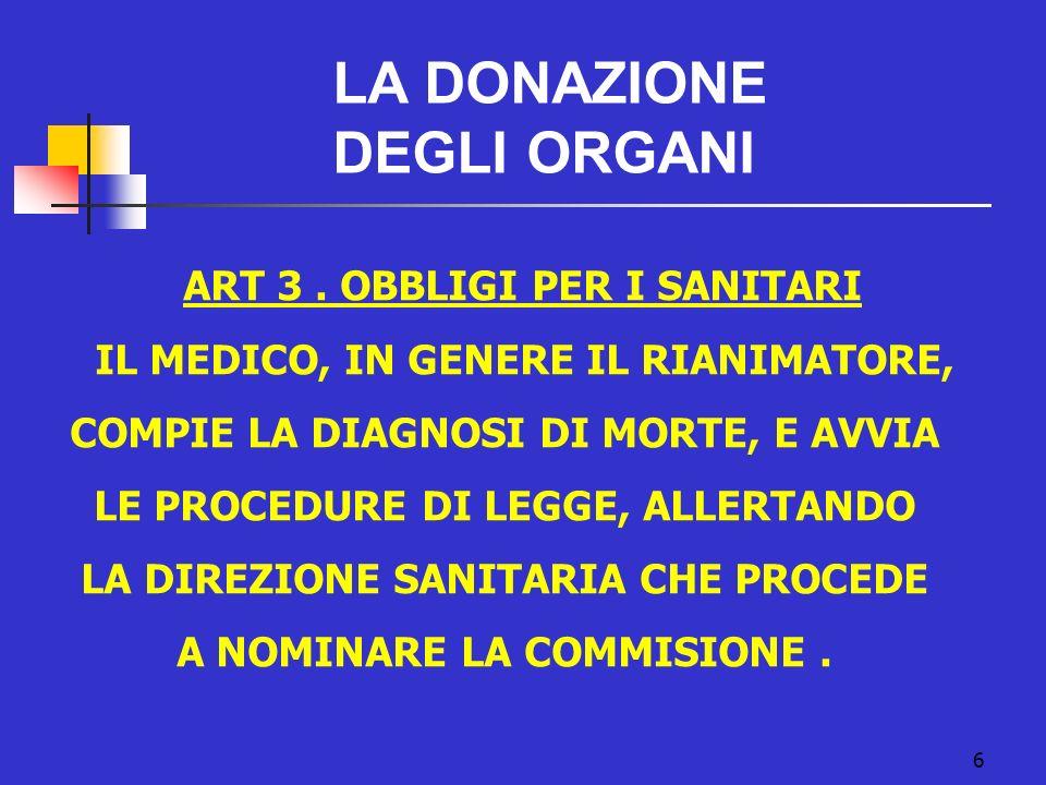 LA DONAZIONE DEGLI ORGANI ART 3 . OBBLIGI PER I SANITARI