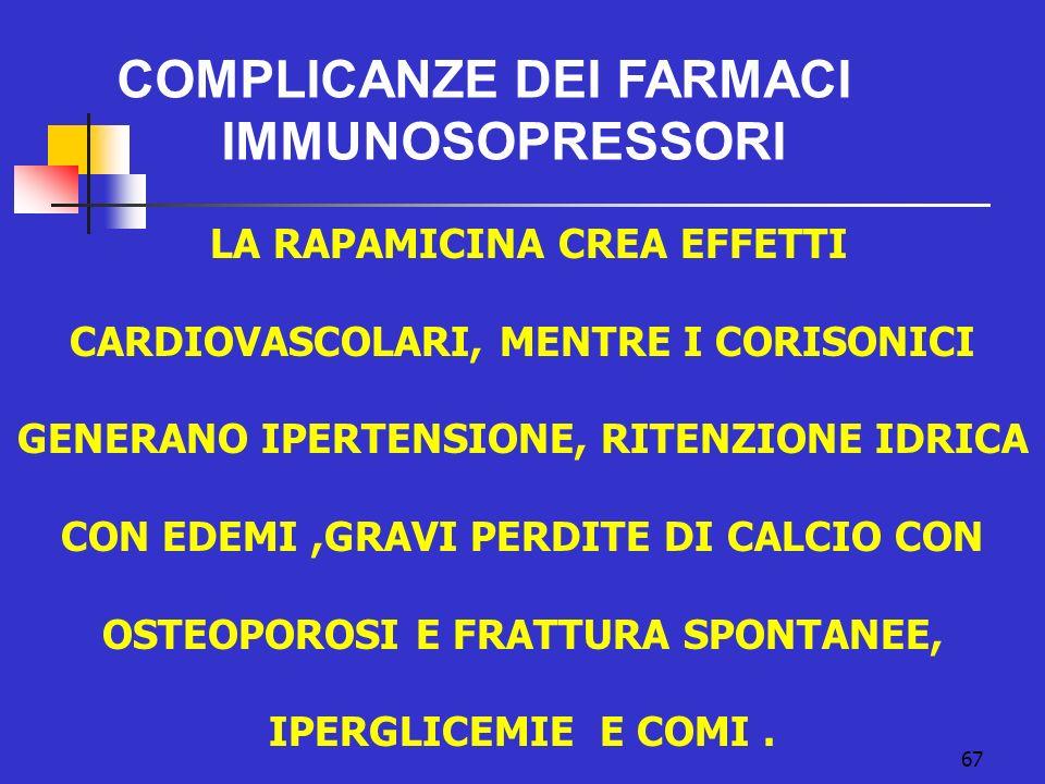 COMPLICANZE DEI FARMACI IMMUNOSOPRESSORI