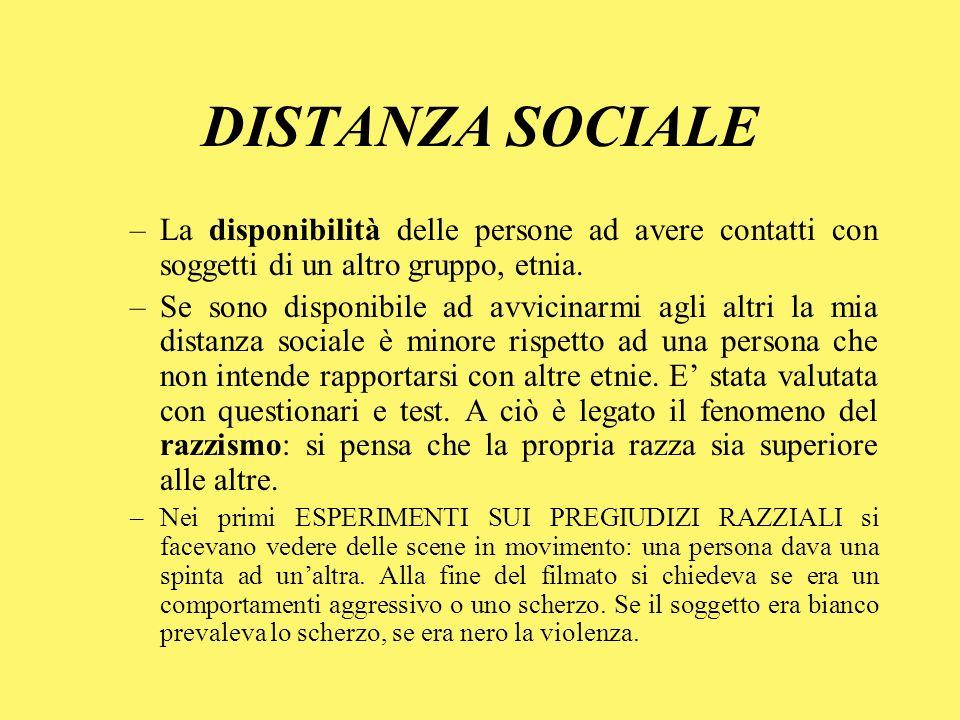 DISTANZA SOCIALE La disponibilità delle persone ad avere contatti con soggetti di un altro gruppo, etnia.