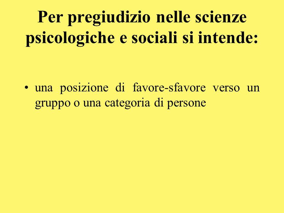 Per pregiudizio nelle scienze psicologiche e sociali si intende: