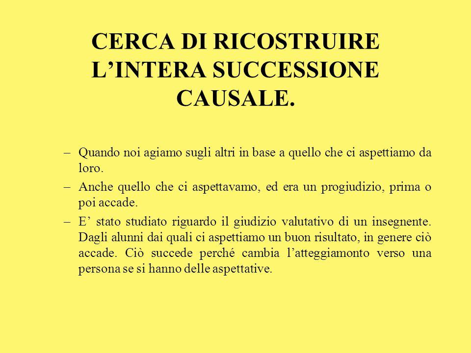 CERCA DI RICOSTRUIRE L'INTERA SUCCESSIONE CAUSALE.