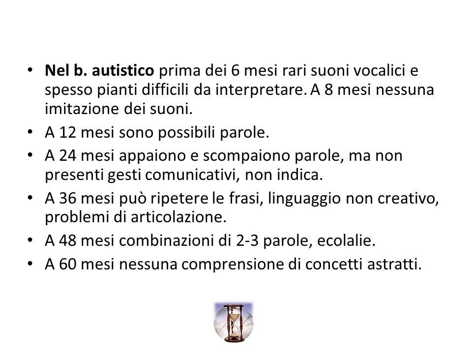 Nel b. autistico prima dei 6 mesi rari suoni vocalici e spesso pianti difficili da interpretare. A 8 mesi nessuna imitazione dei suoni.