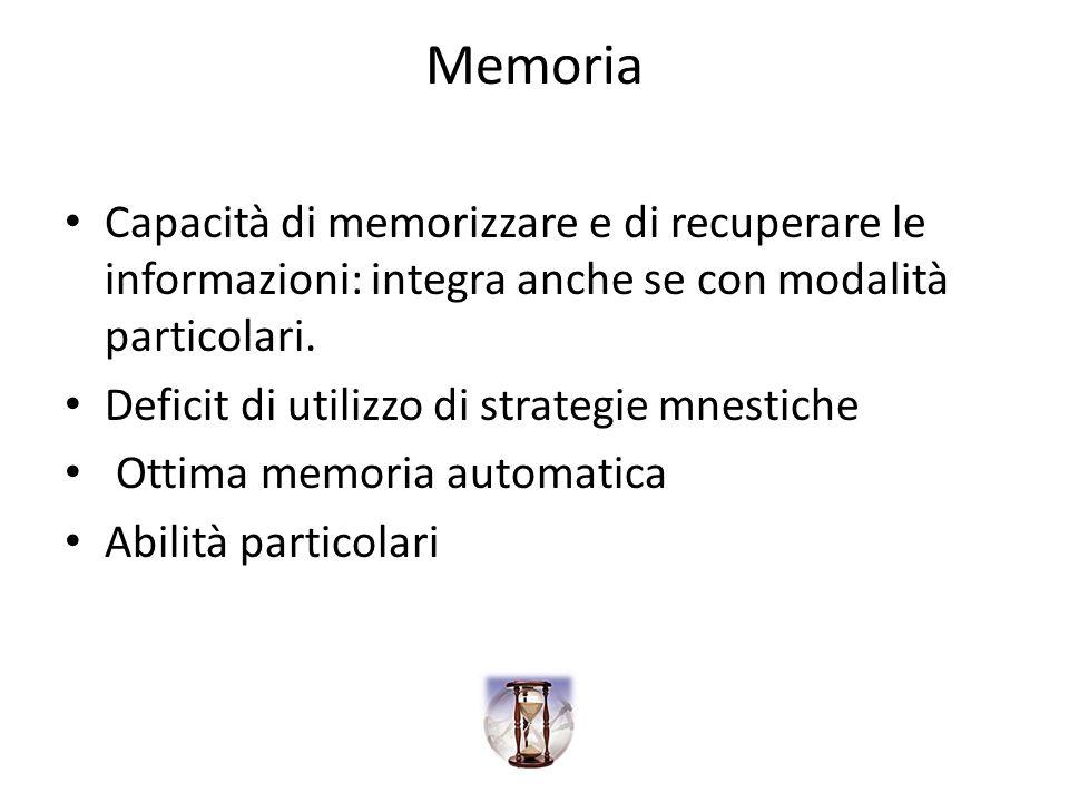 Memoria Capacità di memorizzare e di recuperare le informazioni: integra anche se con modalità particolari.