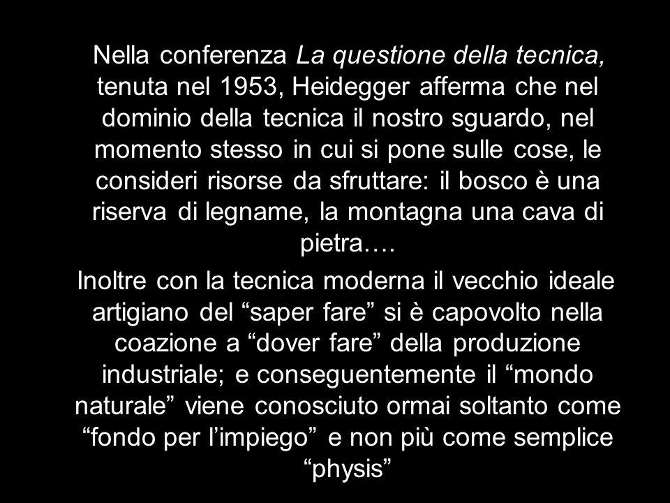 Nella conferenza La questione della tecnica, tenuta nel 1953, Heidegger afferma che nel dominio della tecnica il nostro sguardo, nel momento stesso in cui si pone sulle cose, le consideri risorse da sfruttare: il bosco è una riserva di legname, la montagna una cava di pietra….