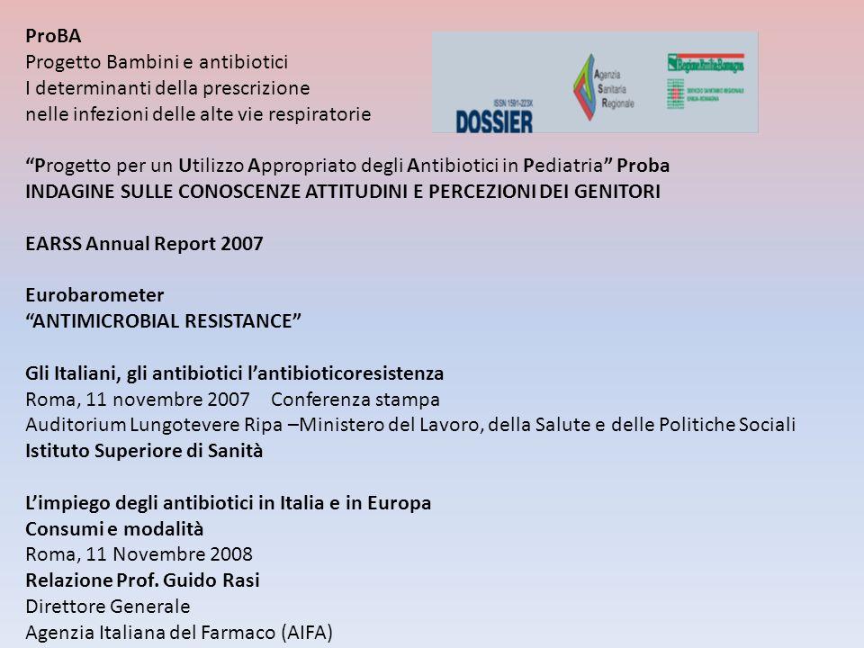 ProBA Progetto Bambini e antibiotici. I determinanti della prescrizione. nelle infezioni delle alte vie respiratorie.