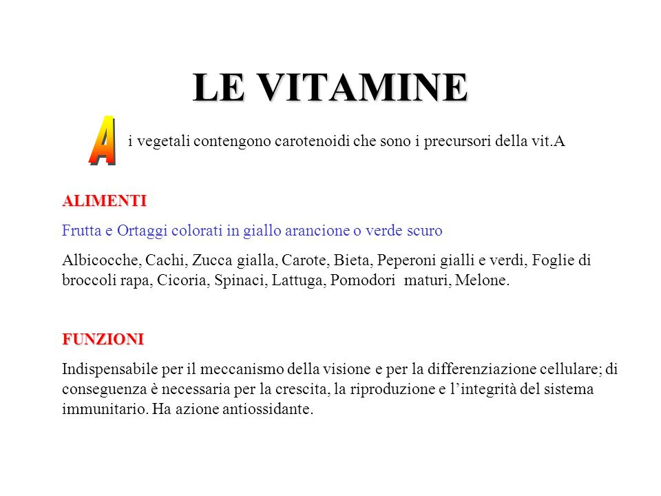 LE VITAMINE A. i vegetali contengono carotenoidi che sono i precursori della vit.A. ALIMENTI.