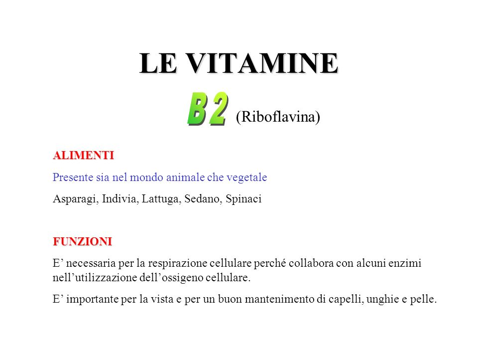 LE VITAMINE B2 (Riboflavina) ALIMENTI