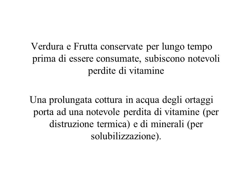 Verdura e Frutta conservate per lungo tempo prima di essere consumate, subiscono notevoli perdite di vitamine