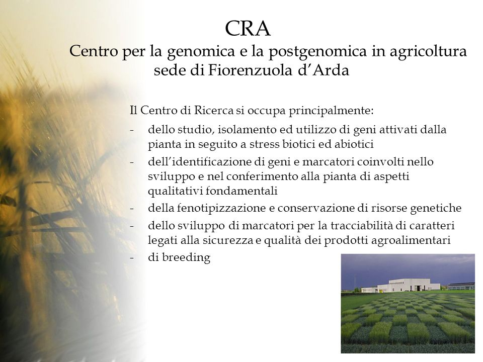 CRA Centro per la genomica e la postgenomica in agricoltura sede di Fiorenzuola d'Arda