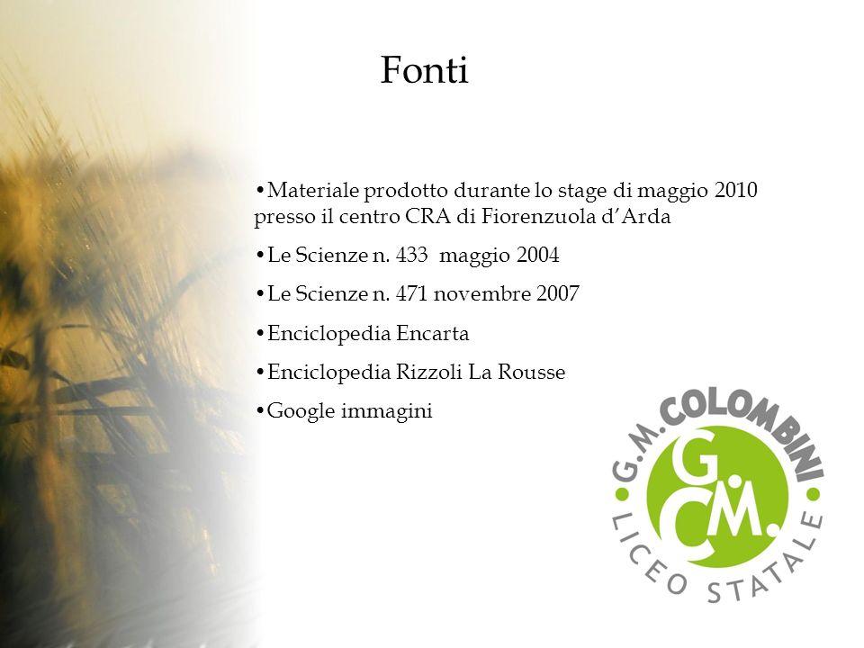 Fonti Materiale prodotto durante lo stage di maggio 2010 presso il centro CRA di Fiorenzuola d'Arda.