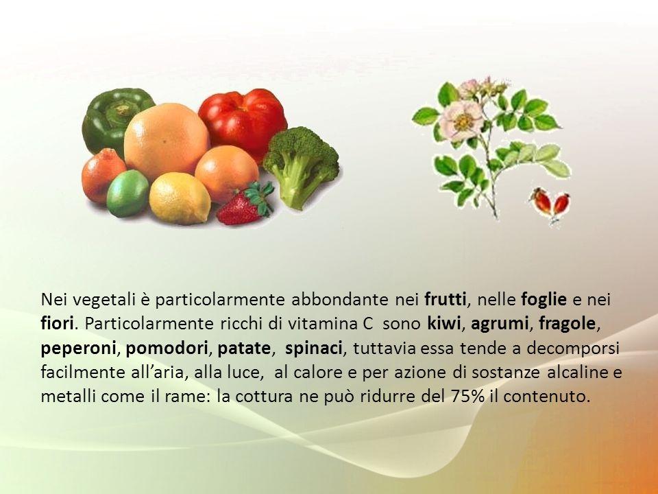 Nei vegetali è particolarmente abbondante nei frutti, nelle foglie e nei fiori.
