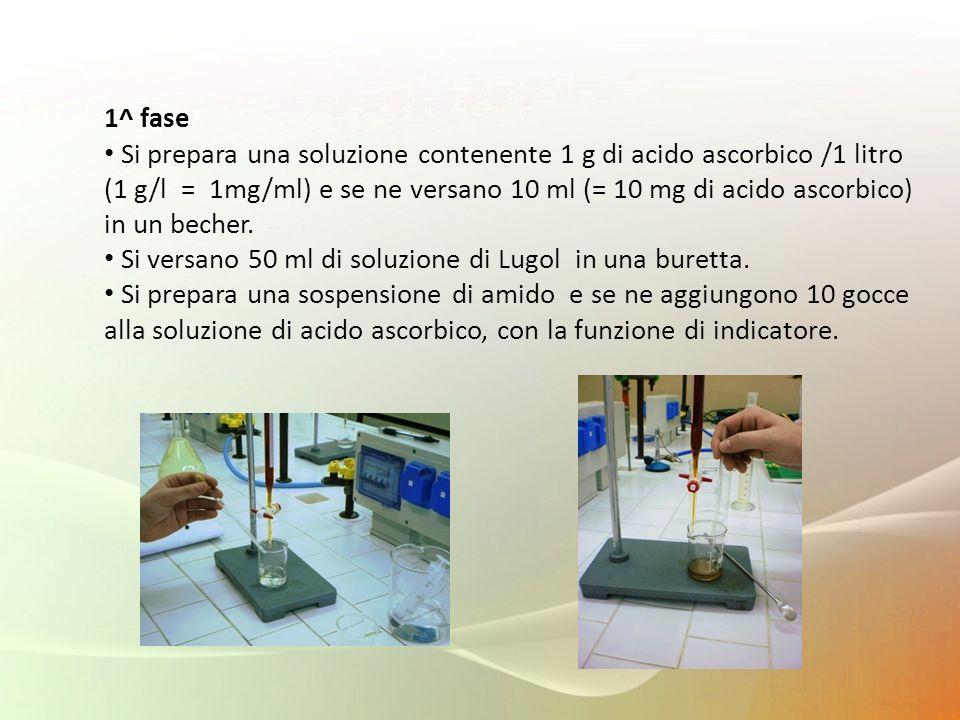 1^ fase Si prepara una soluzione contenente 1 g di acido ascorbico /1 litro.