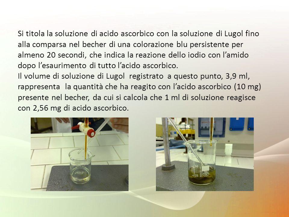 Si titola la soluzione di acido ascorbico con la soluzione di Lugol fino