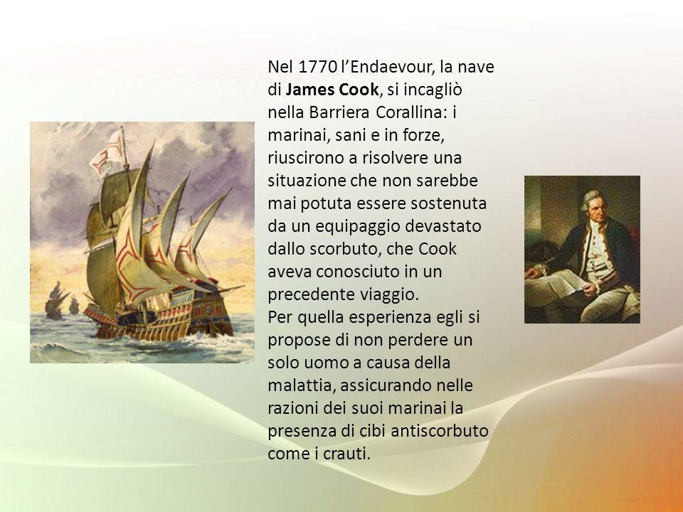 Nel 1770 l'Endaevour, la nave di James Cook, si incagliò nella Barriera Corallina: i marinai, sani e in forze, riuscirono a risolvere una situazione che non sarebbe mai potuta essere sostenuta da un equipaggio devastato dallo scorbuto, che Cook aveva conosciuto in un precedente viaggio.