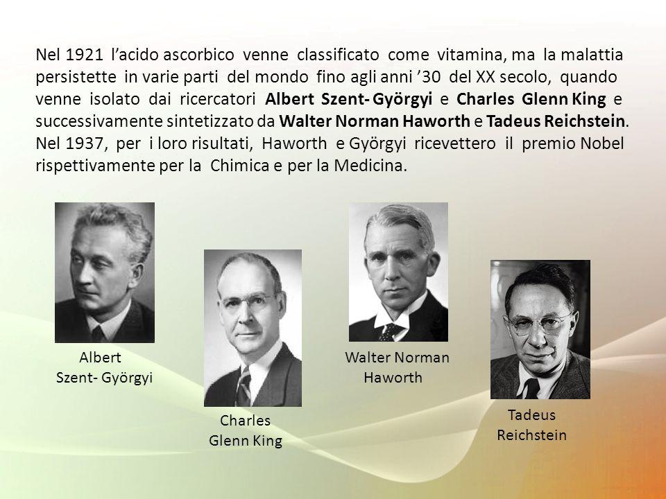 Nel 1921 l'acido ascorbico venne classificato come vitamina, ma la malattia persistette in varie parti del mondo fino agli anni '30 del XX secolo, quando